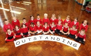 St Stephens Primary School , Skipton celebrate recieving an outstanding OFSTED . .